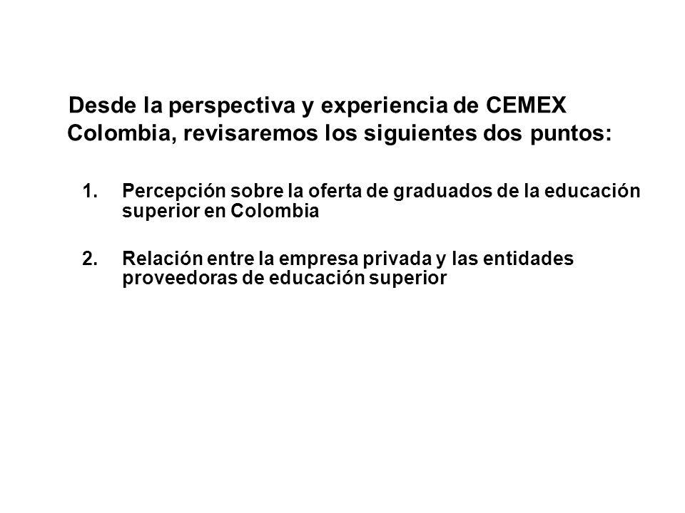 Desde la perspectiva y experiencia de CEMEX Colombia, revisaremos los siguientes dos puntos: