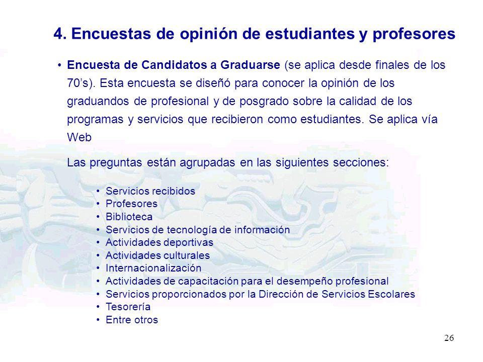 4. Encuestas de opinión de estudiantes y profesores