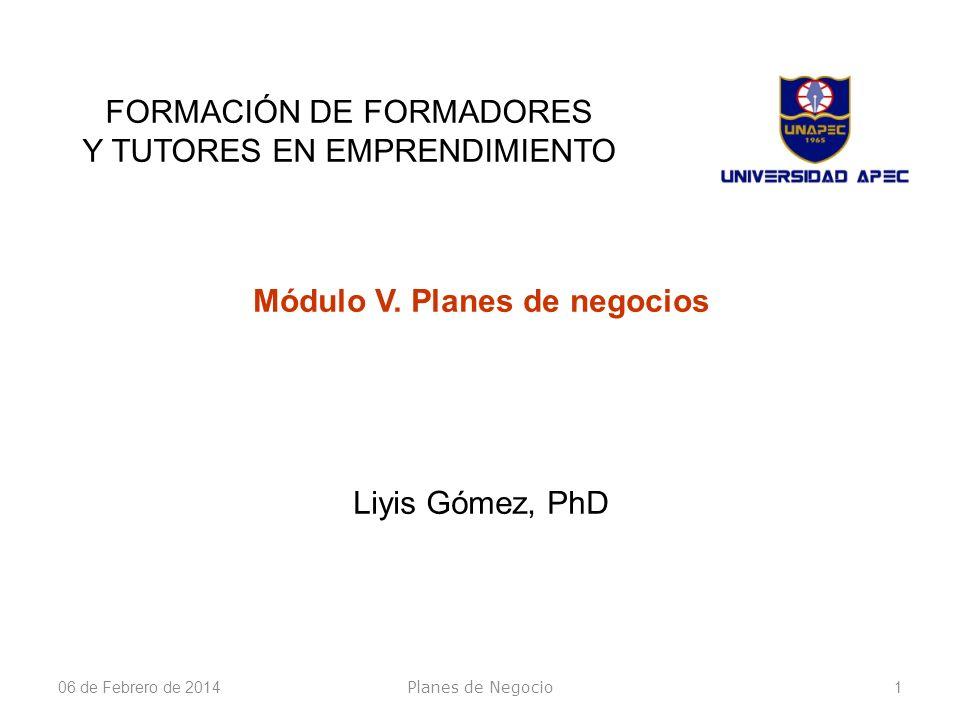 Módulo V. Planes de negocios