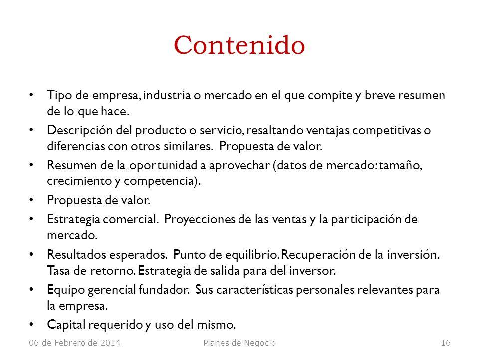 Contenido Tipo de empresa, industria o mercado en el que compite y breve resumen de lo que hace.
