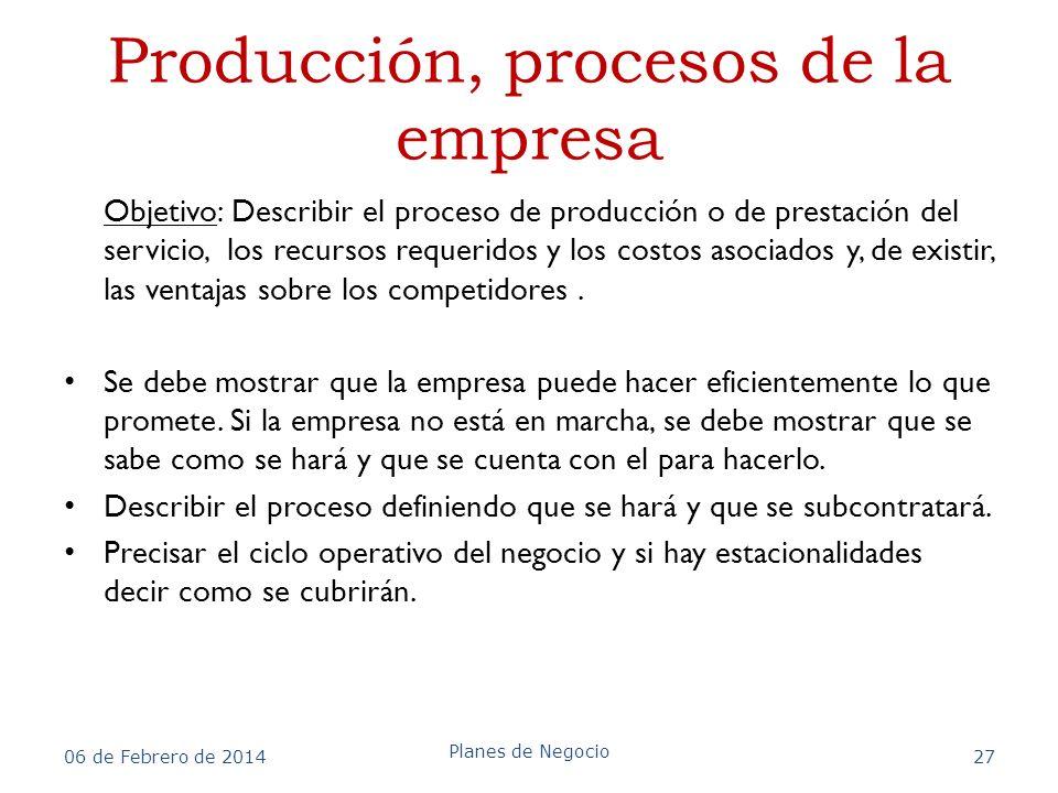 Producción, procesos de la empresa