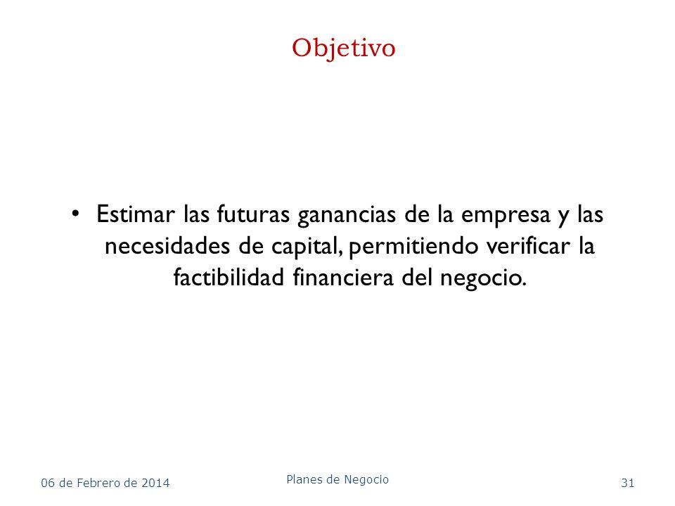 Objetivo Estimar las futuras ganancias de la empresa y las necesidades de capital, permitiendo verificar la factibilidad financiera del negocio.