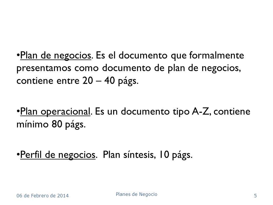 Plan operacional. Es un documento tipo A-Z, contiene mínimo 80 págs.