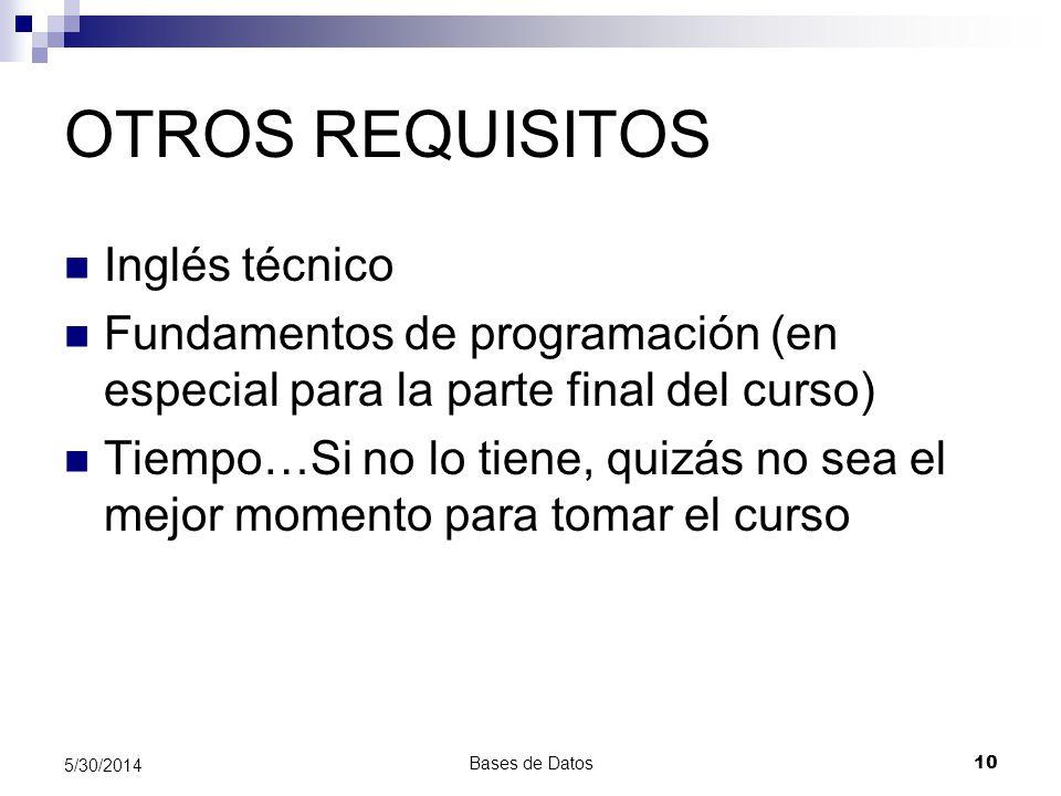 OTROS REQUISITOS Inglés técnico