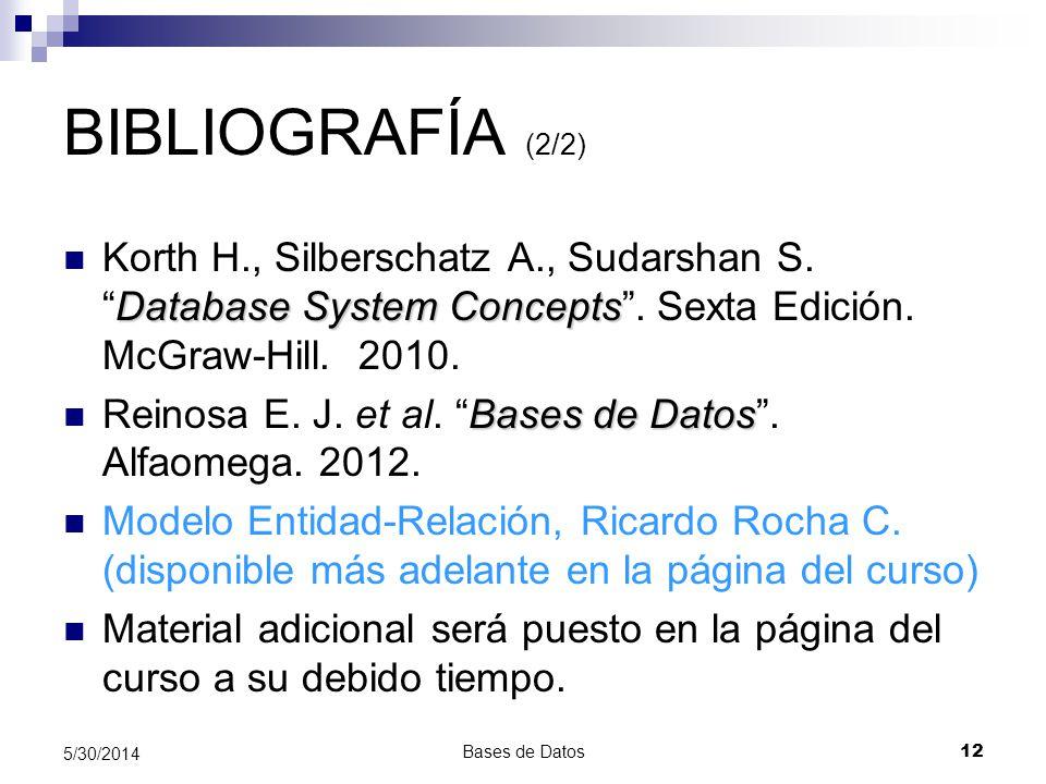 BIBLIOGRAFÍA (2/2) Korth H., Silberschatz A., Sudarshan S. Database System Concepts . Sexta Edición. McGraw-Hill. 2010.