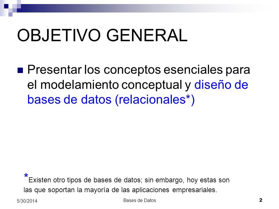 OBJETIVO GENERAL Presentar los conceptos esenciales para el modelamiento conceptual y diseño de bases de datos (relacionales*)