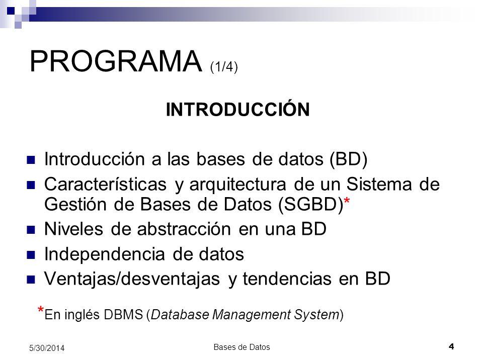 PROGRAMA (1/4) INTRODUCCIÓN Introducción a las bases de datos (BD)
