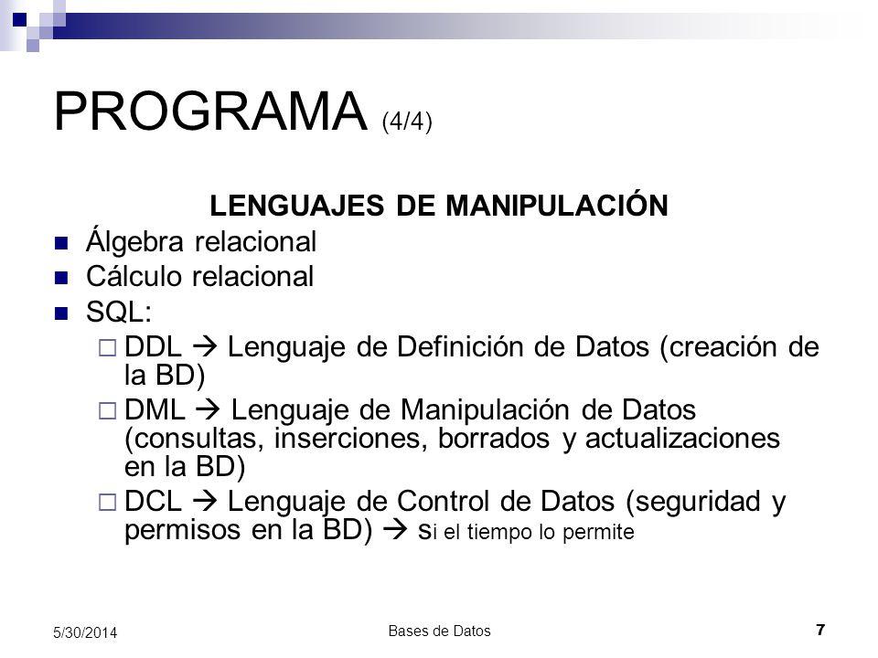 LENGUAJES DE MANIPULACIÓN