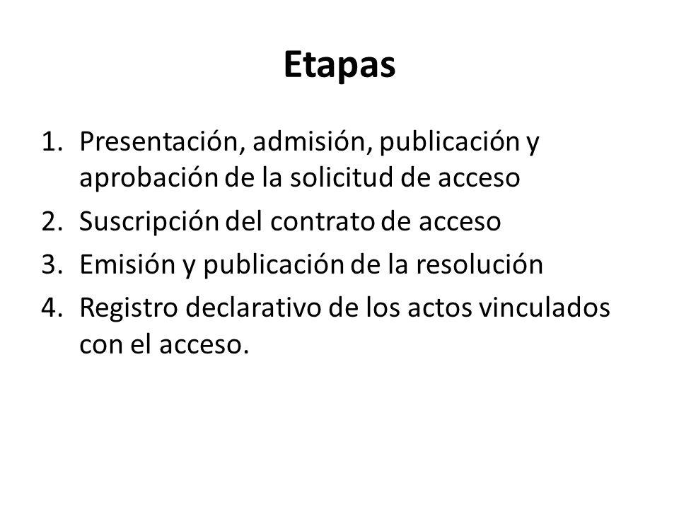 Etapas Presentación, admisión, publicación y aprobación de la solicitud de acceso. Suscripción del contrato de acceso.