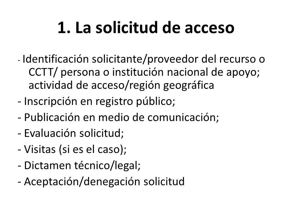 1. La solicitud de acceso - Inscripción en registro público;
