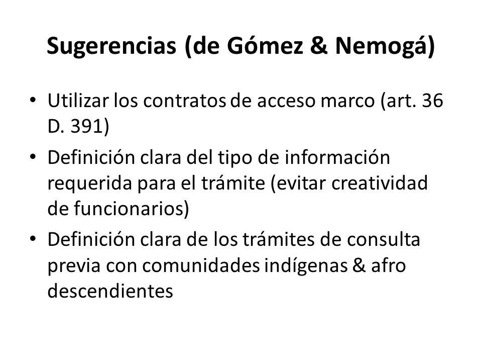 Sugerencias (de Gómez & Nemogá)