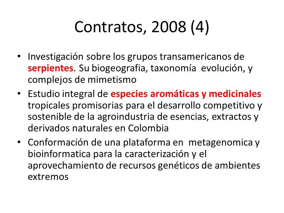 Contratos, 2008 (4) Investigación sobre los grupos transamericanos de serpientes. Su biogeografia, taxonomía evolución, y complejos de mimetismo.