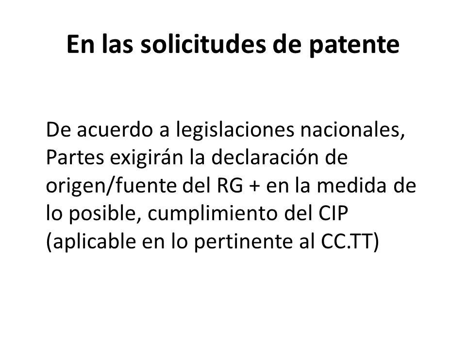 En las solicitudes de patente