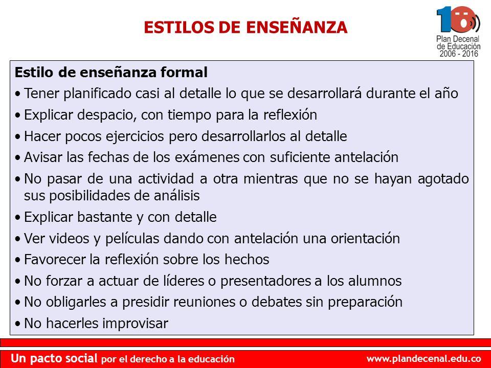 ESTILOS DE ENSEÑANZA Estilo de enseñanza formal