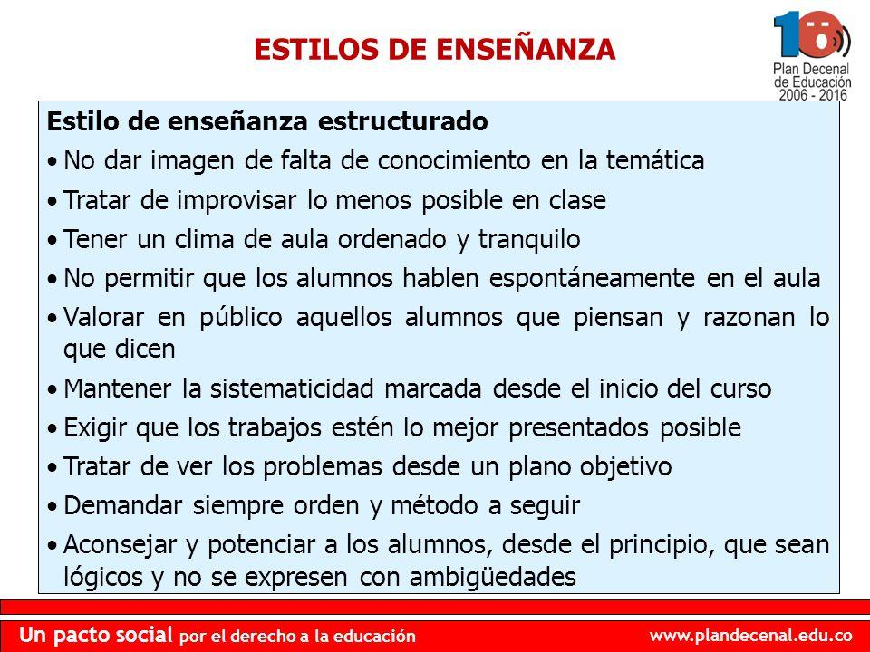 ESTILOS DE ENSEÑANZA Estilo de enseñanza estructurado