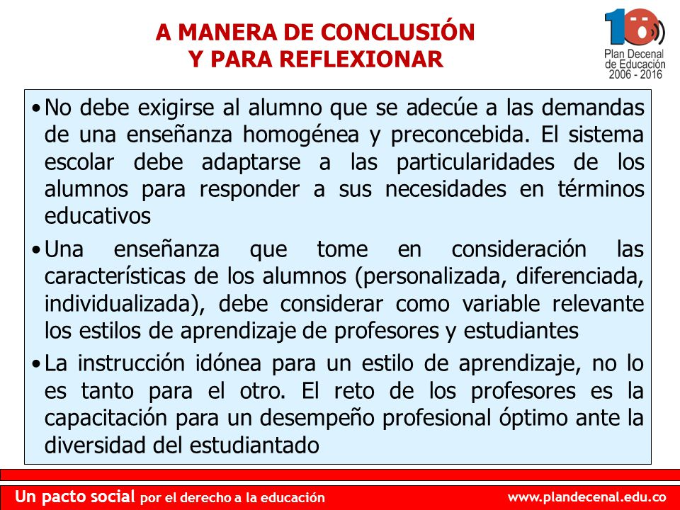 A MANERA DE CONCLUSIÓN Y PARA REFLEXIONAR