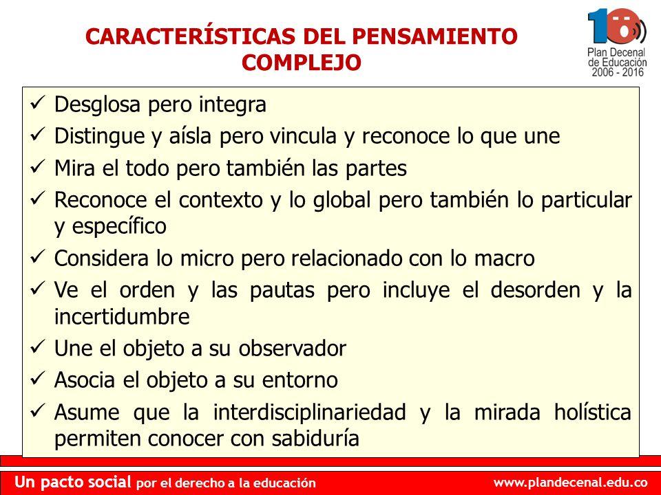 CARACTERÍSTICAS DEL PENSAMIENTO COMPLEJO