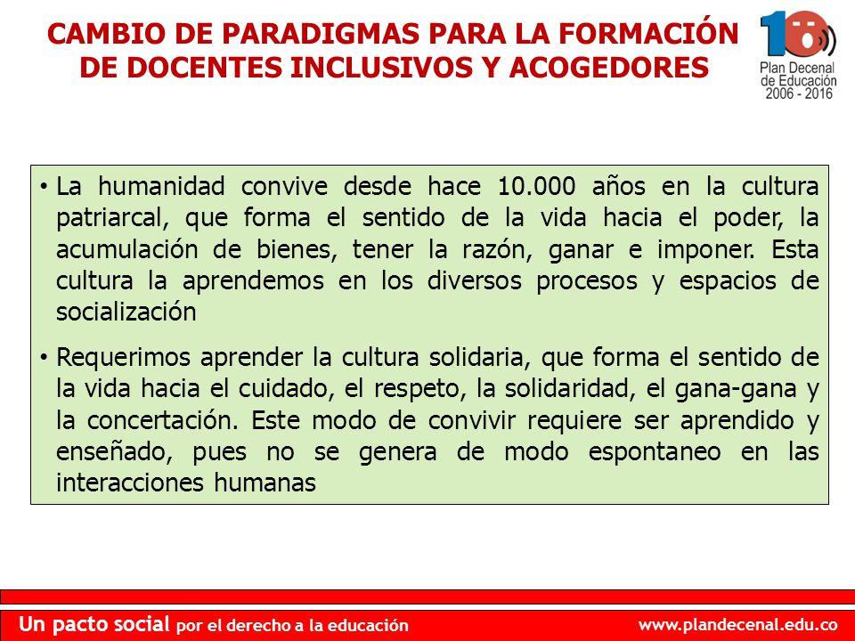 CAMBIO DE PARADIGMAS PARA LA FORMACIÓN DE DOCENTES INCLUSIVOS Y ACOGEDORES