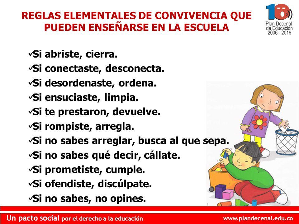 REGLAS ELEMENTALES DE CONVIVENCIA QUE PUEDEN ENSEÑARSE EN LA ESCUELA