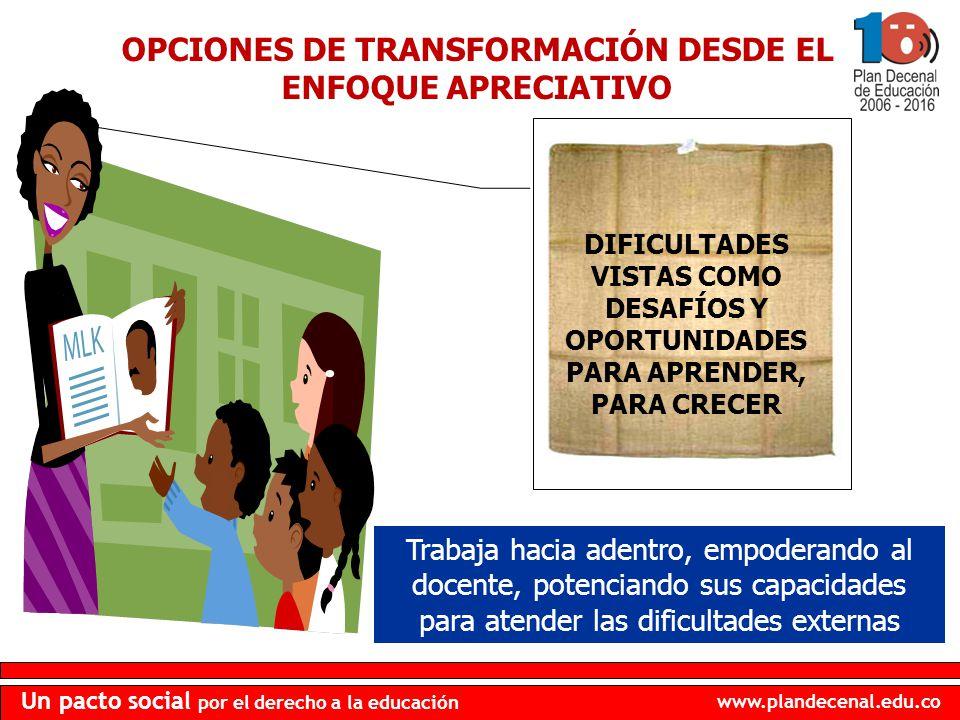 OPCIONES DE TRANSFORMACIÓN DESDE EL ENFOQUE APRECIATIVO