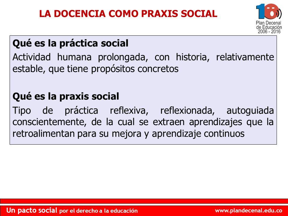 LA DOCENCIA COMO PRAXIS SOCIAL