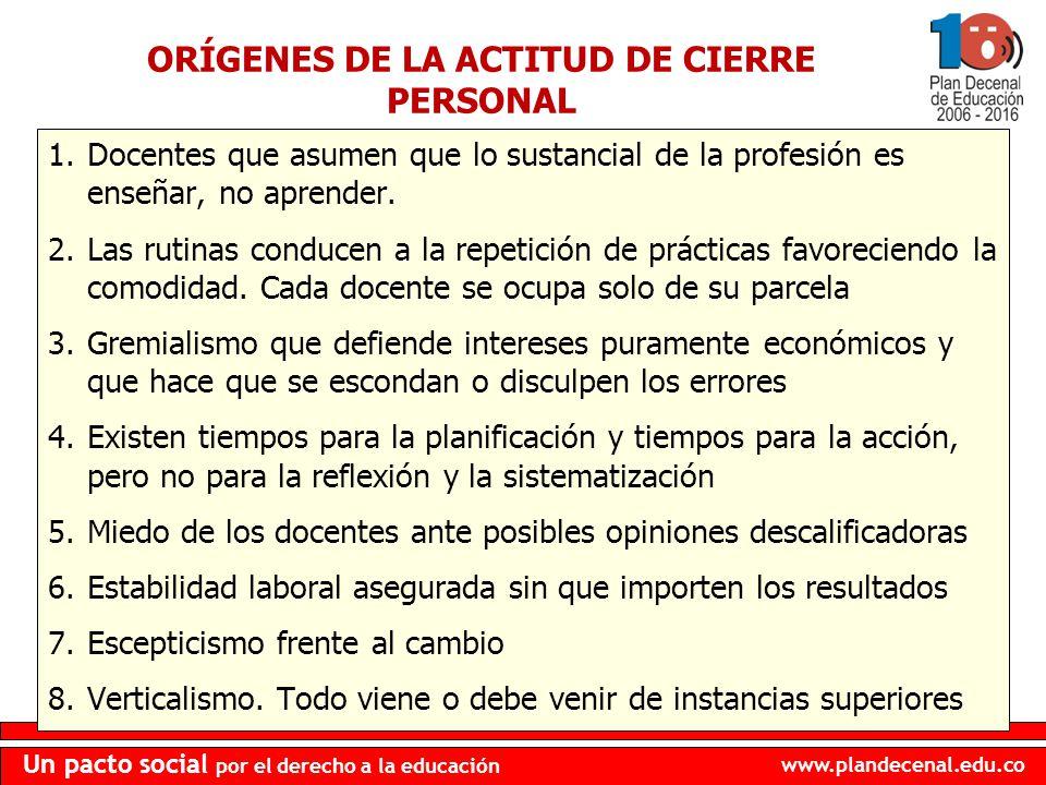 ORÍGENES DE LA ACTITUD DE CIERRE PERSONAL