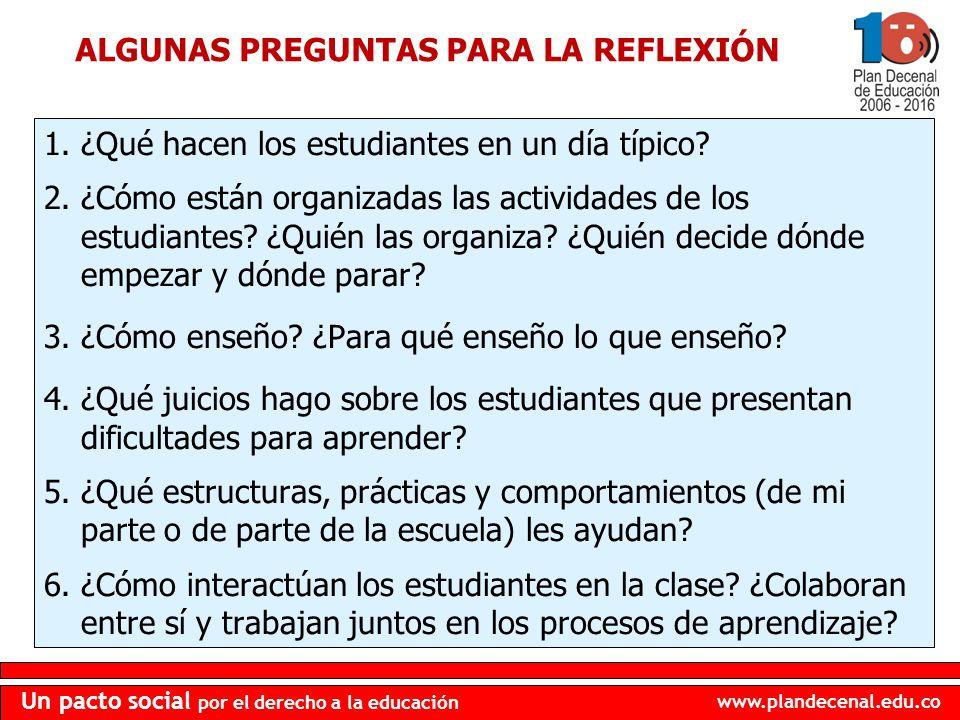 ALGUNAS PREGUNTAS PARA LA REFLEXIÓN
