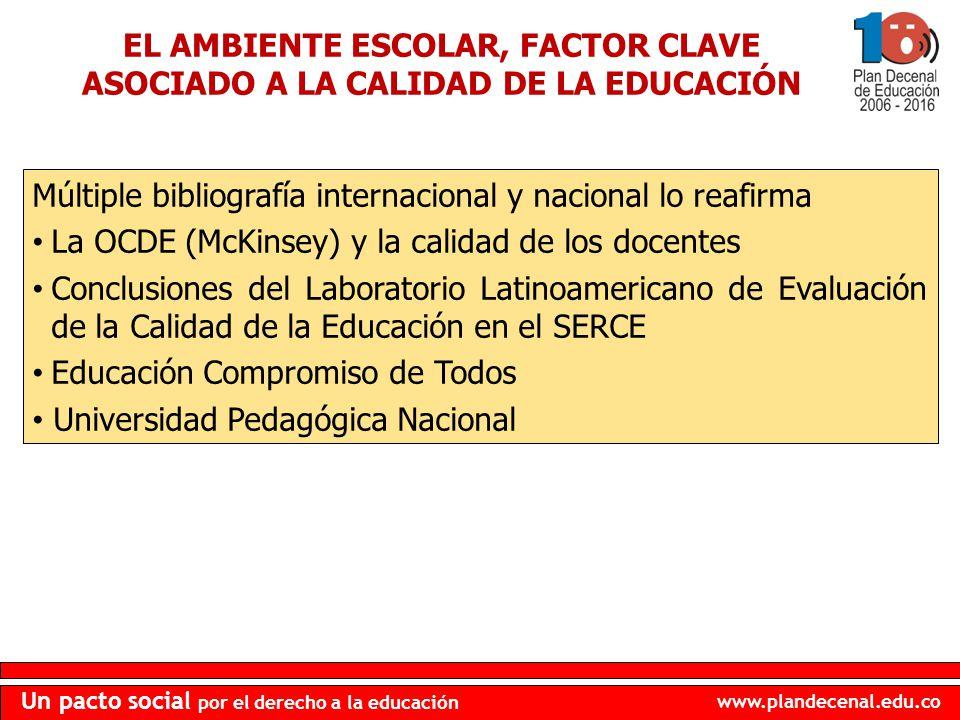 EL AMBIENTE ESCOLAR, FACTOR CLAVE ASOCIADO A LA CALIDAD DE LA EDUCACIÓN