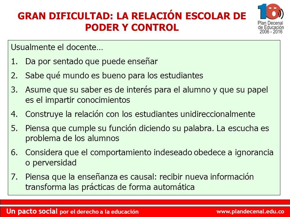 GRAN DIFICULTAD: LA RELACIÓN ESCOLAR DE PODER Y CONTROL