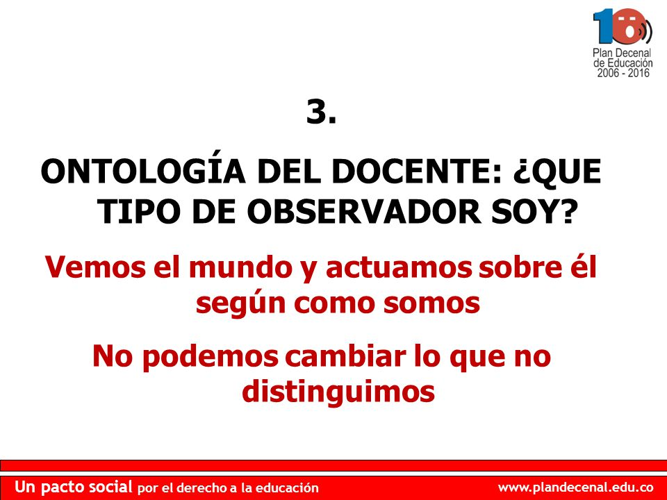 3. ONTOLOGÍA DEL DOCENTE: ¿QUE TIPO DE OBSERVADOR SOY