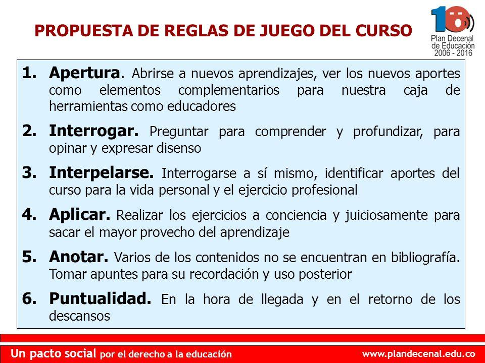 PROPUESTA DE REGLAS DE JUEGO DEL CURSO