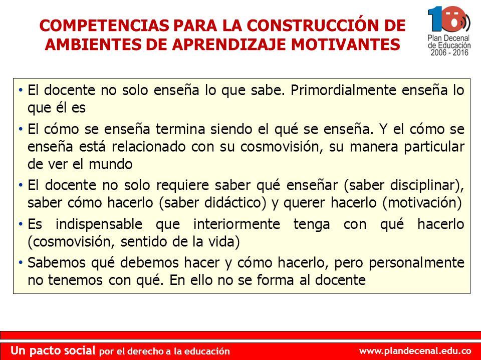 COMPETENCIAS PARA LA CONSTRUCCIÓN DE AMBIENTES DE APRENDIZAJE MOTIVANTES