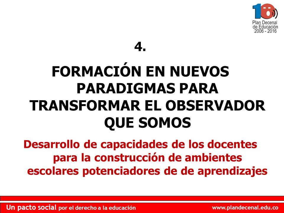 4. FORMACIÓN EN NUEVOS PARADIGMAS PARA TRANSFORMAR EL OBSERVADOR QUE SOMOS.