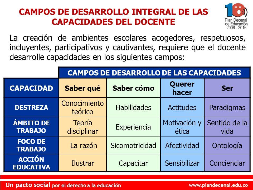 CAMPOS DE DESARROLLO INTEGRAL DE LAS CAPACIDADES DEL DOCENTE