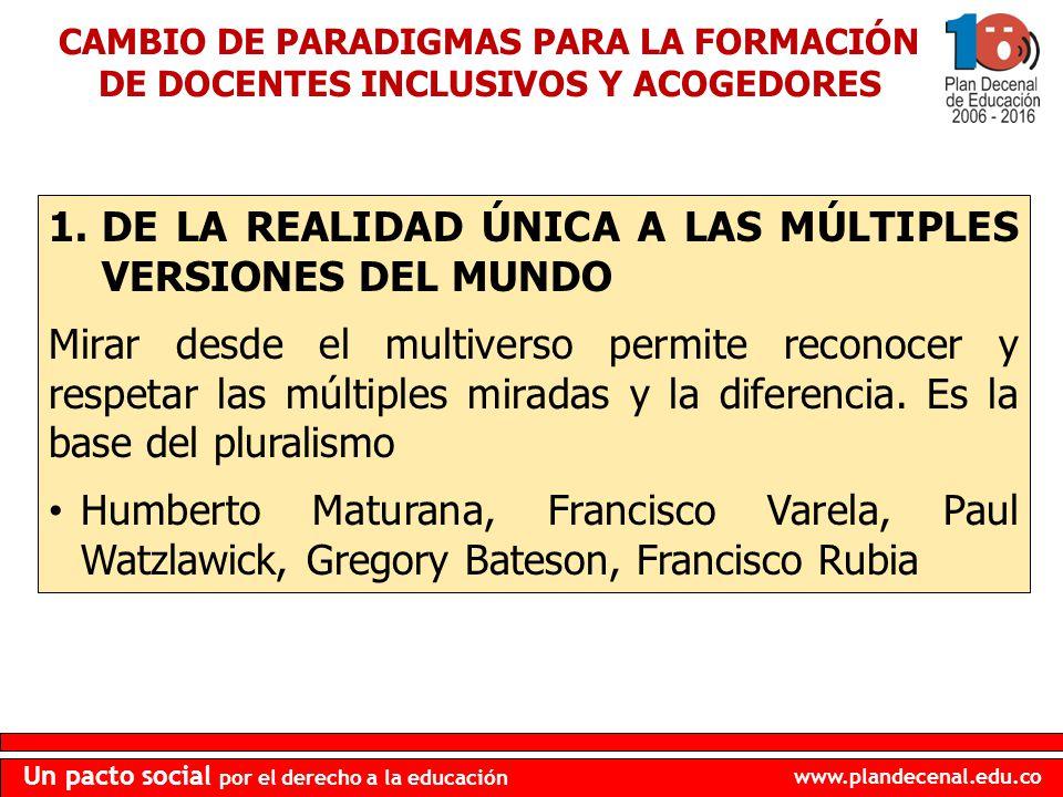 DE LA REALIDAD ÚNICA A LAS MÚLTIPLES VERSIONES DEL MUNDO