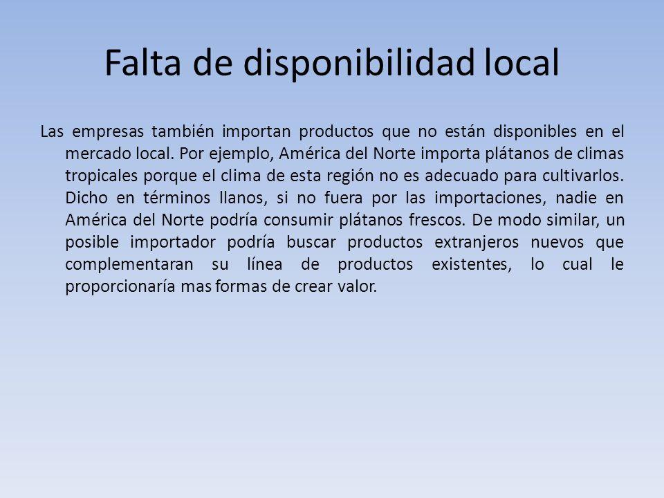 Falta de disponibilidad local