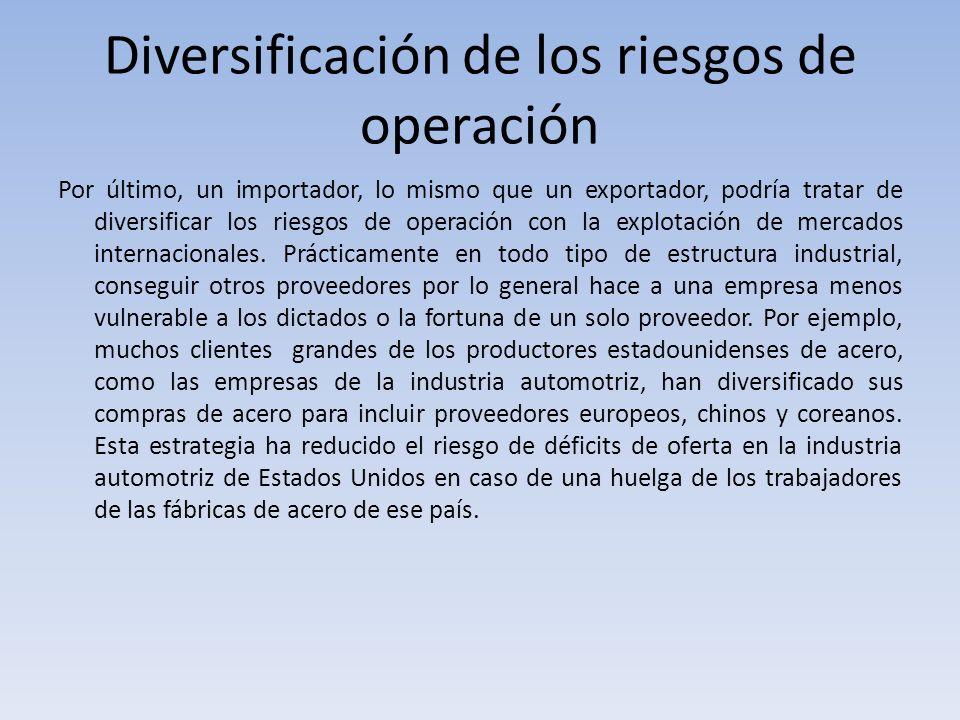 Diversificación de los riesgos de operación