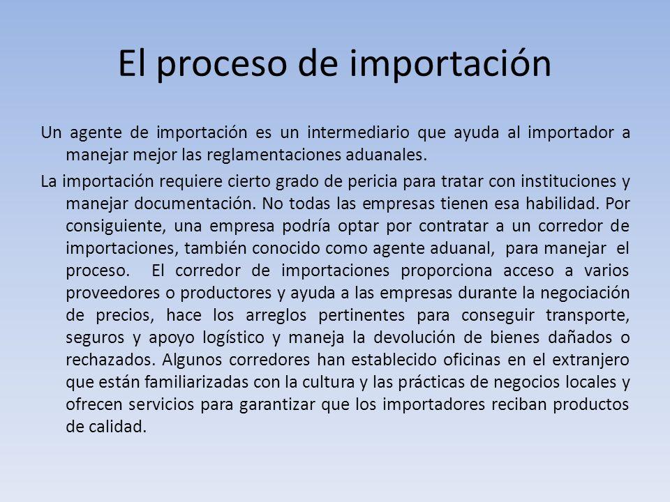El proceso de importación
