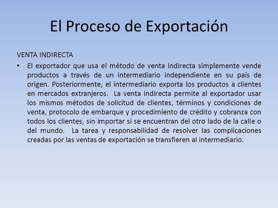 El Proceso de Exportación