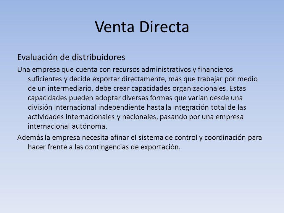 Venta Directa Evaluación de distribuidores