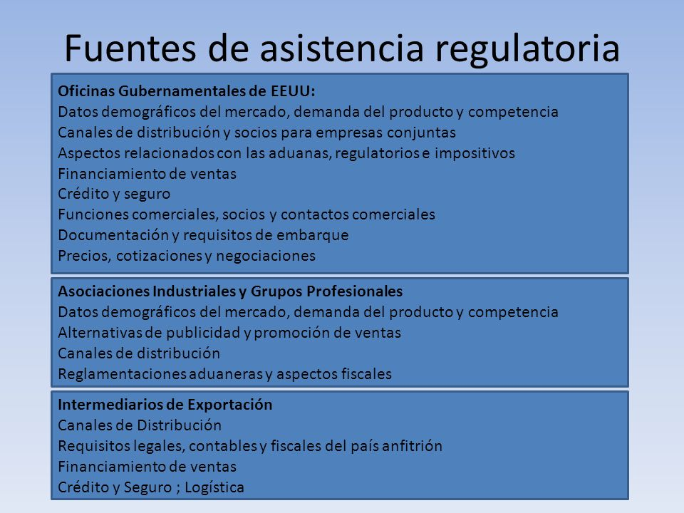 Fuentes de asistencia regulatoria