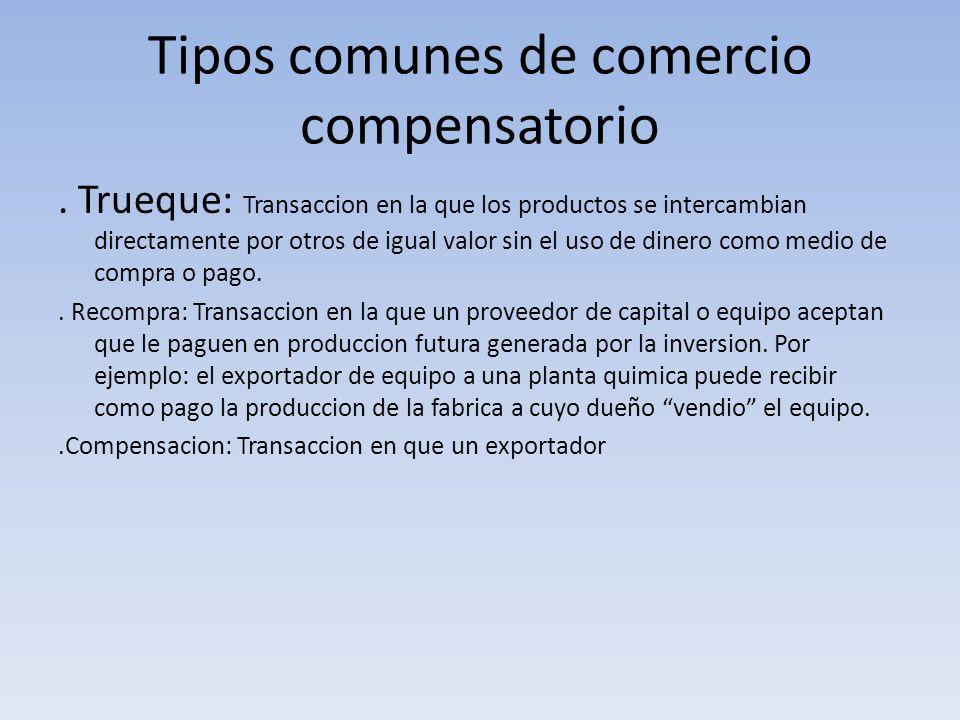 Tipos comunes de comercio compensatorio