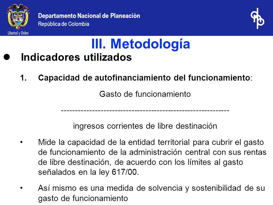III. Metodología Indicadores utilizados
