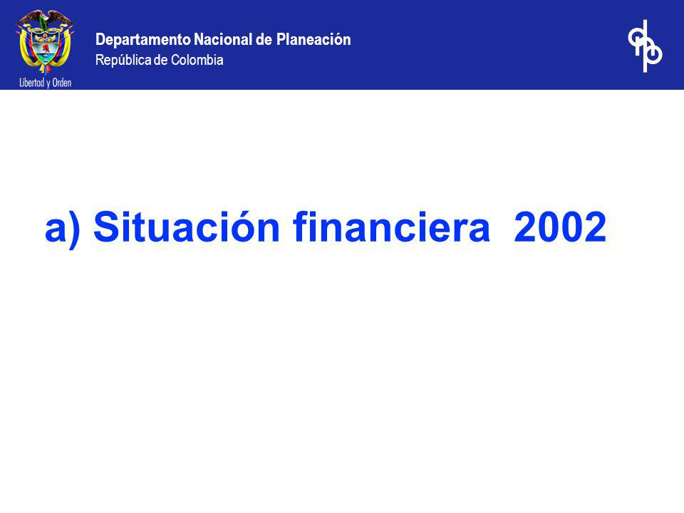 a) Situación financiera 2002