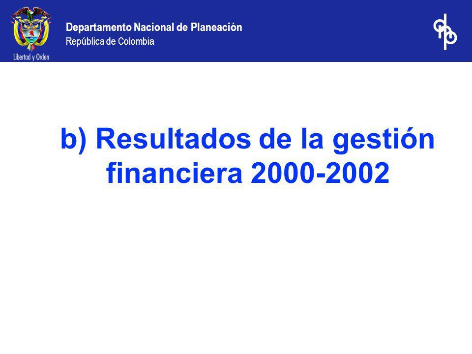 b) Resultados de la gestión financiera 2000-2002