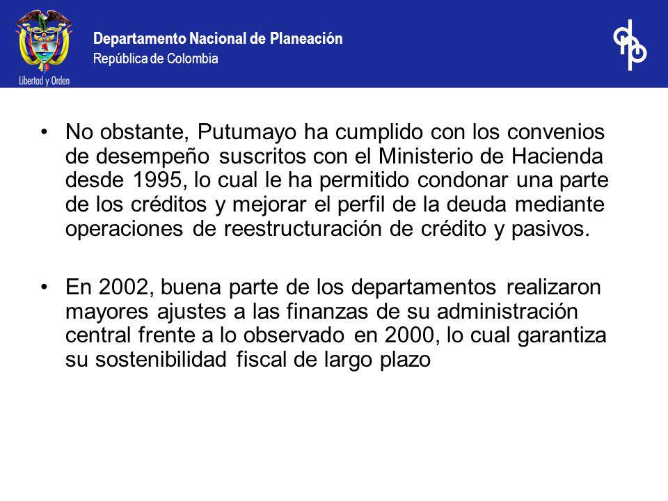 No obstante, Putumayo ha cumplido con los convenios de desempeño suscritos con el Ministerio de Hacienda desde 1995, lo cual le ha permitido condonar una parte de los créditos y mejorar el perfil de la deuda mediante operaciones de reestructuración de crédito y pasivos.