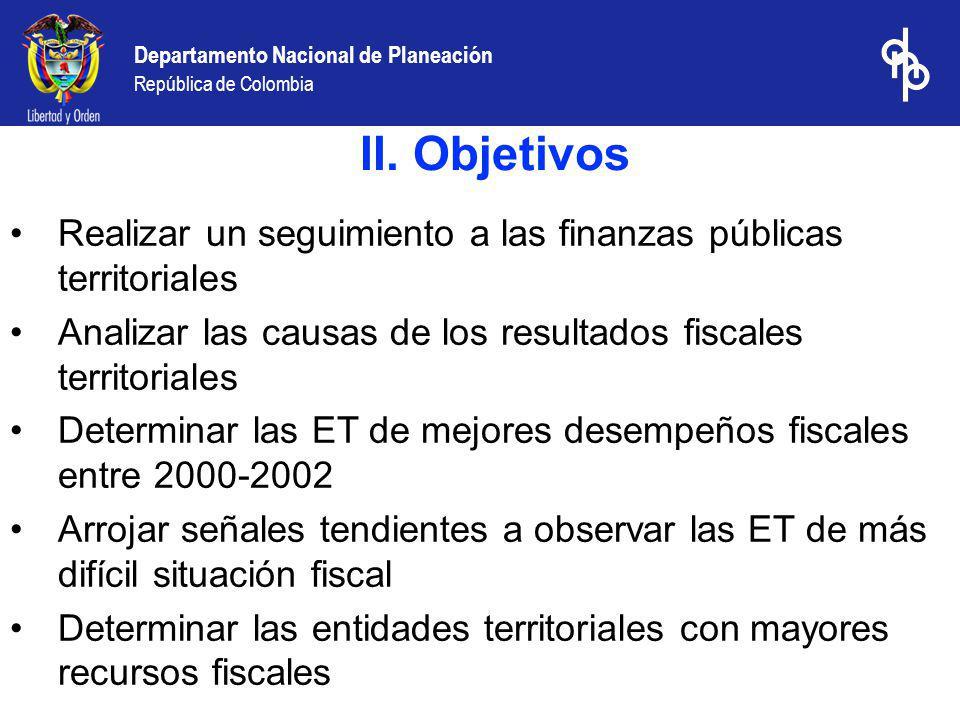 II. Objetivos Realizar un seguimiento a las finanzas públicas territoriales. Analizar las causas de los resultados fiscales territoriales.