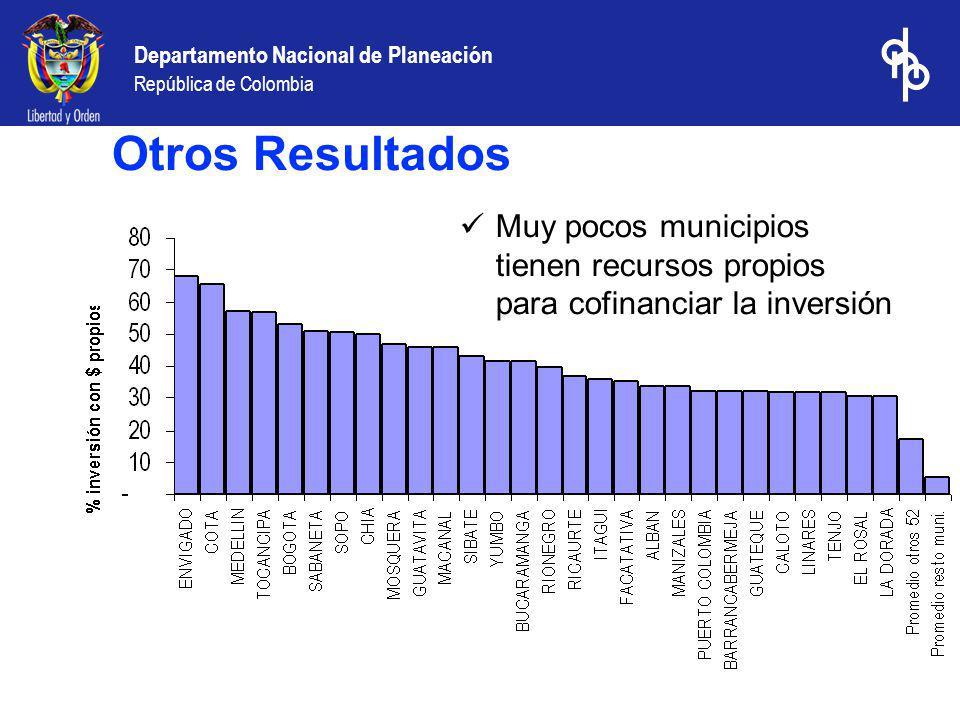 Otros Resultados Muy pocos municipios tienen recursos propios para cofinanciar la inversión