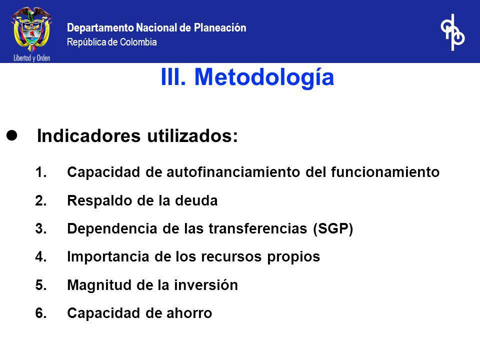 III. Metodología Indicadores utilizados: