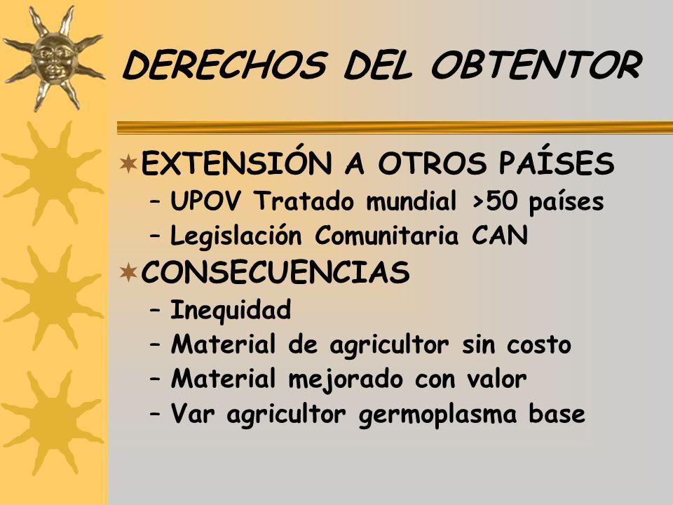 DERECHOS DEL OBTENTOR EXTENSIÓN A OTROS PAÍSES CONSECUENCIAS